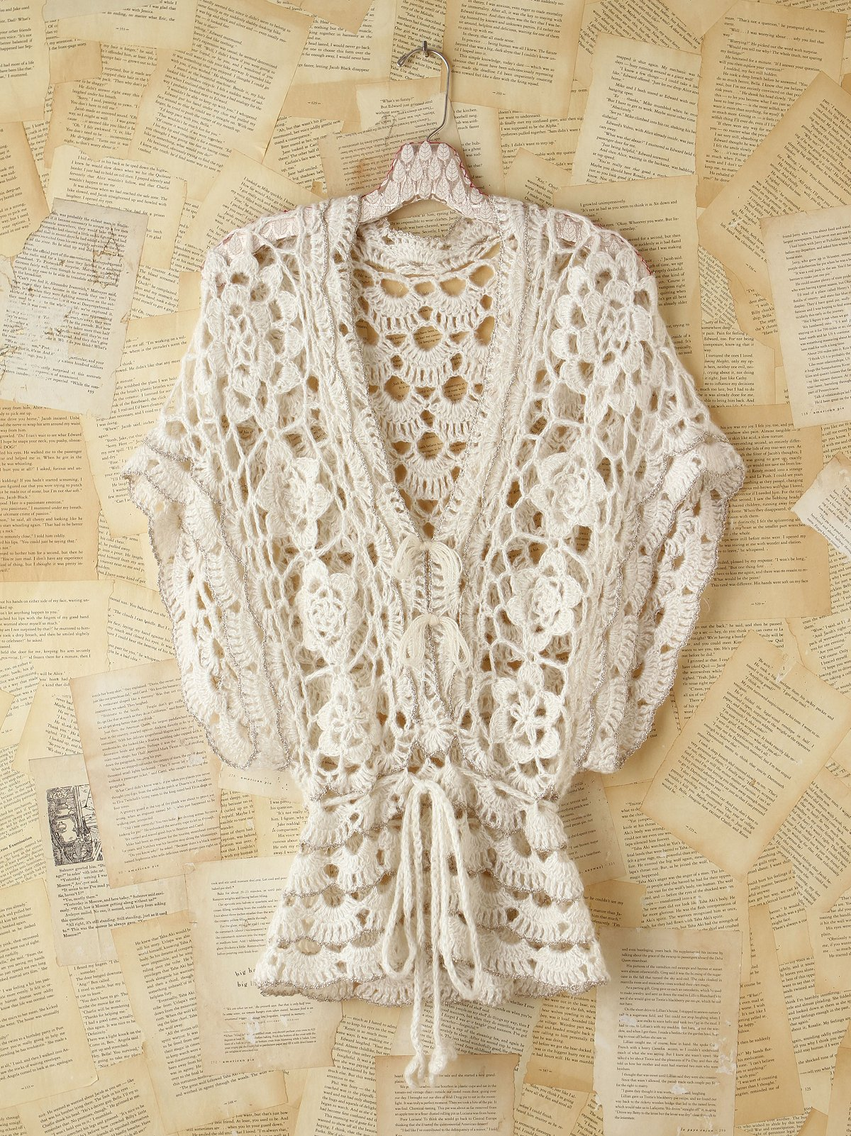 Vintage Metallic Crochet Sweater