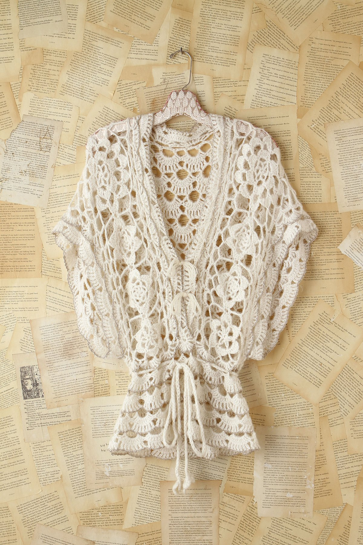 Vintage Metallic Crochet Sweater