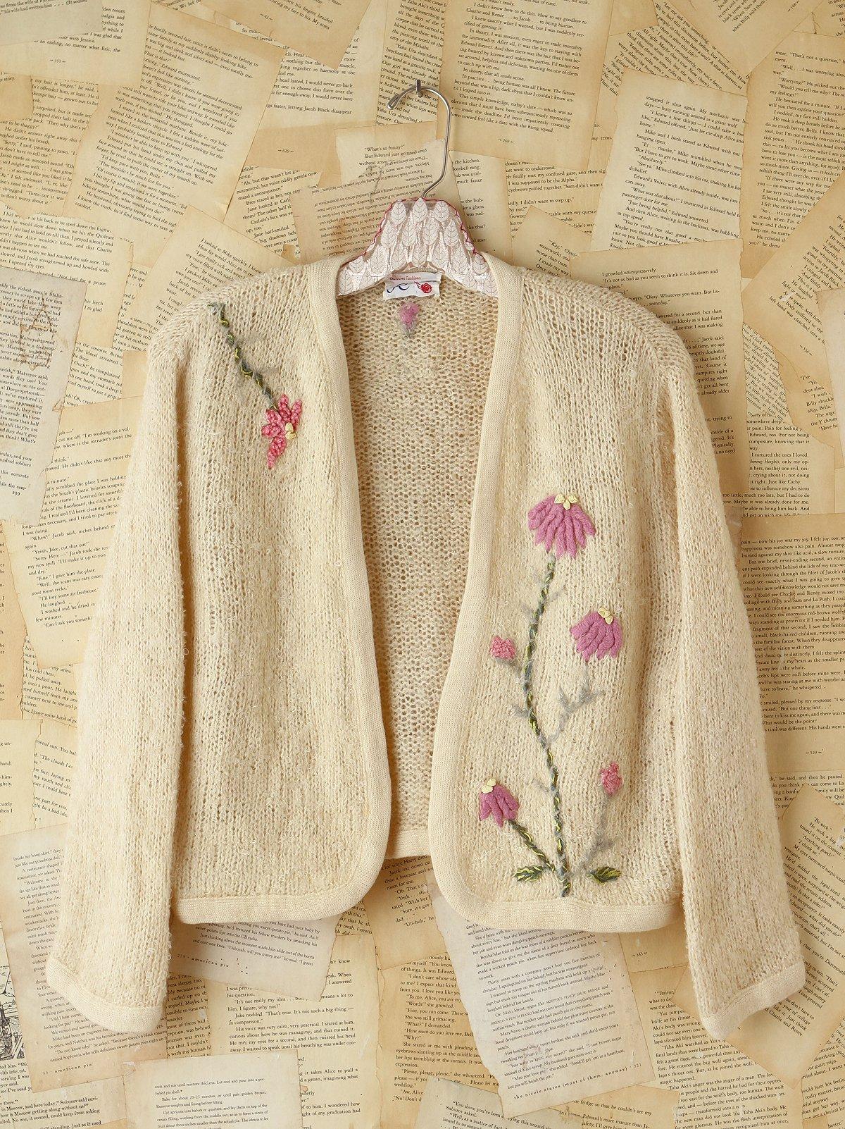 Vintage Floral Embellished Knit Cardigan