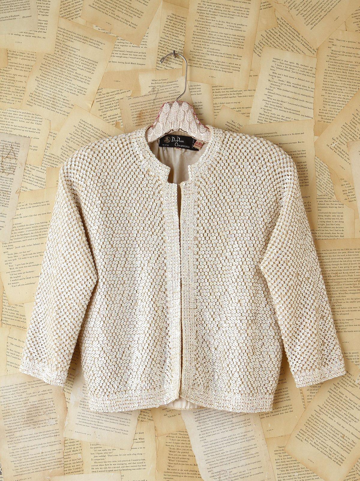 Vintage Sequin Embellished Wool Cardigan