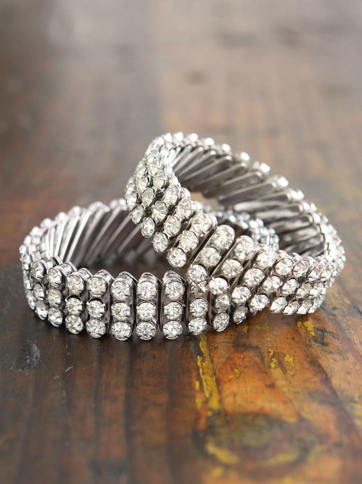 Vintage Crystal Rhinestone Stretchy Bracelet Set