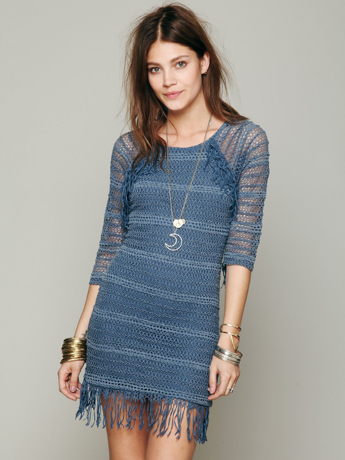 Fringed Crochet Raglan Dress