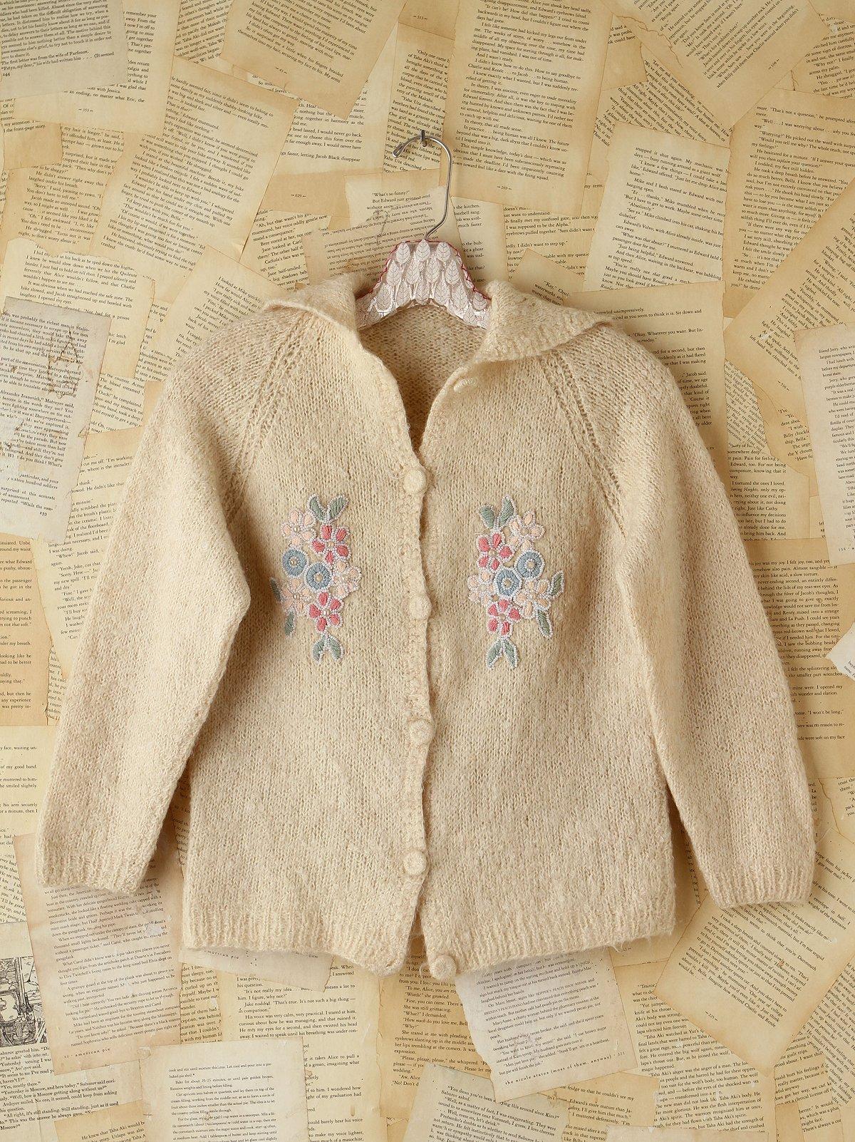 Vintage Cream Knit Sweater Cardigan