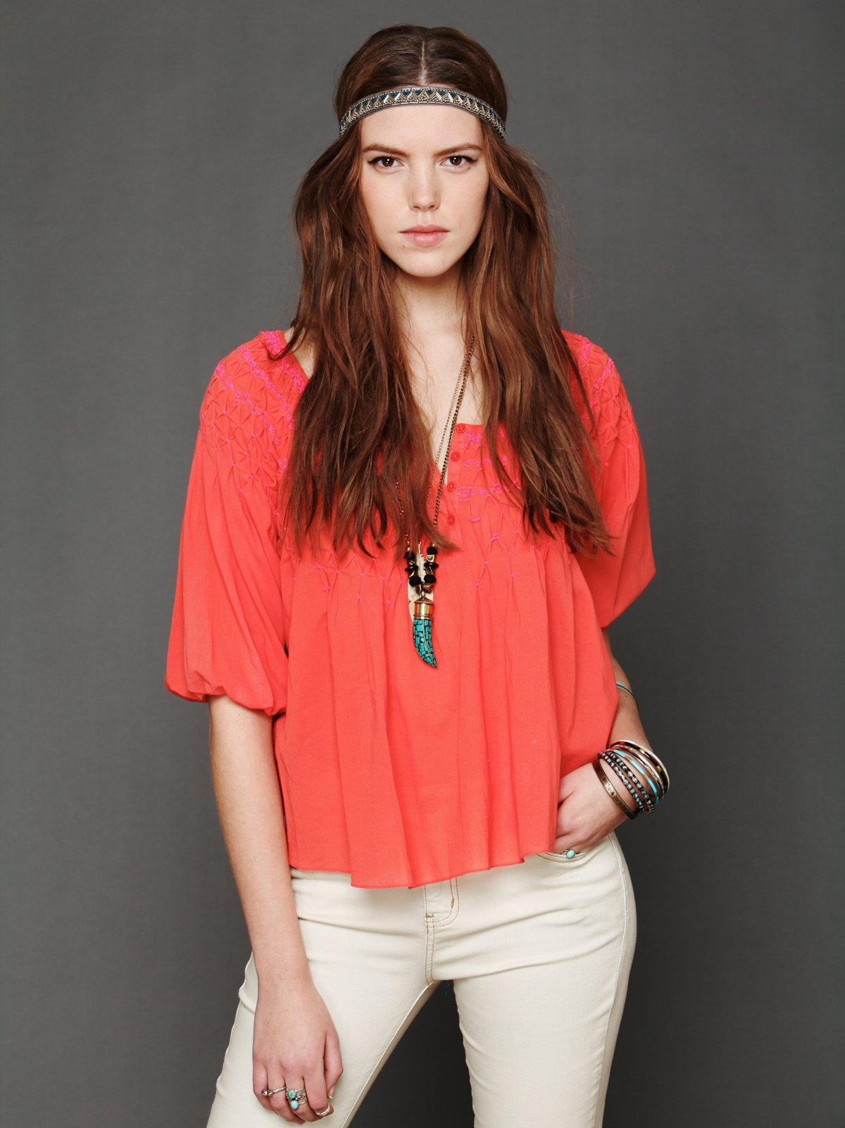 Color Me Smocked Peasant Top
