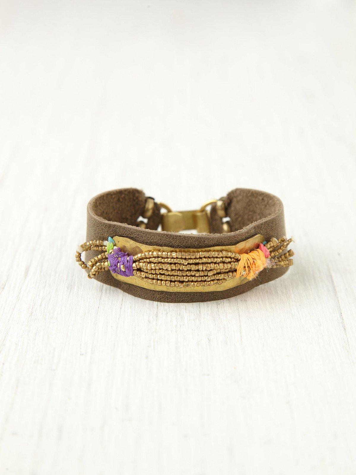 Gold Spun Leather Bracelet