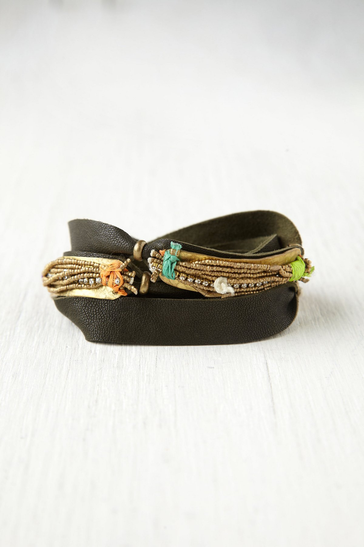 Gold Spun Leather Cuff
