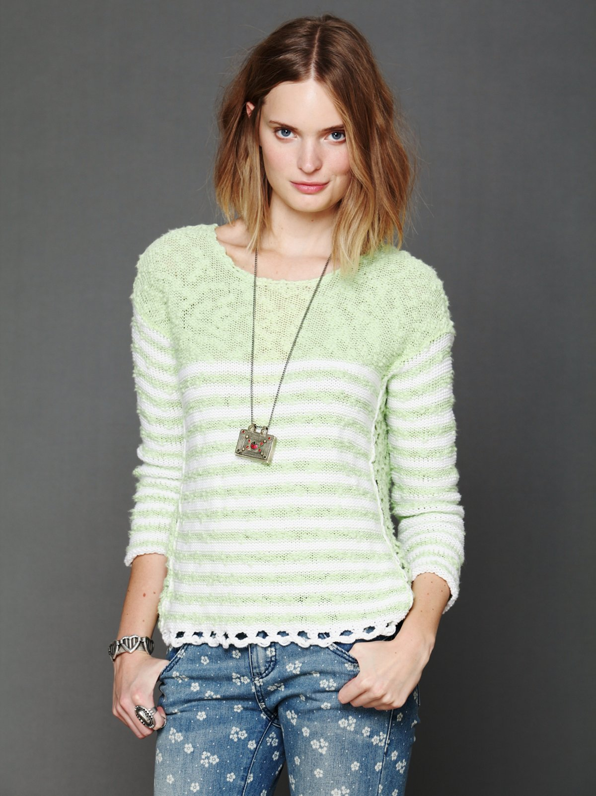 Striped In Crochet Pullover
