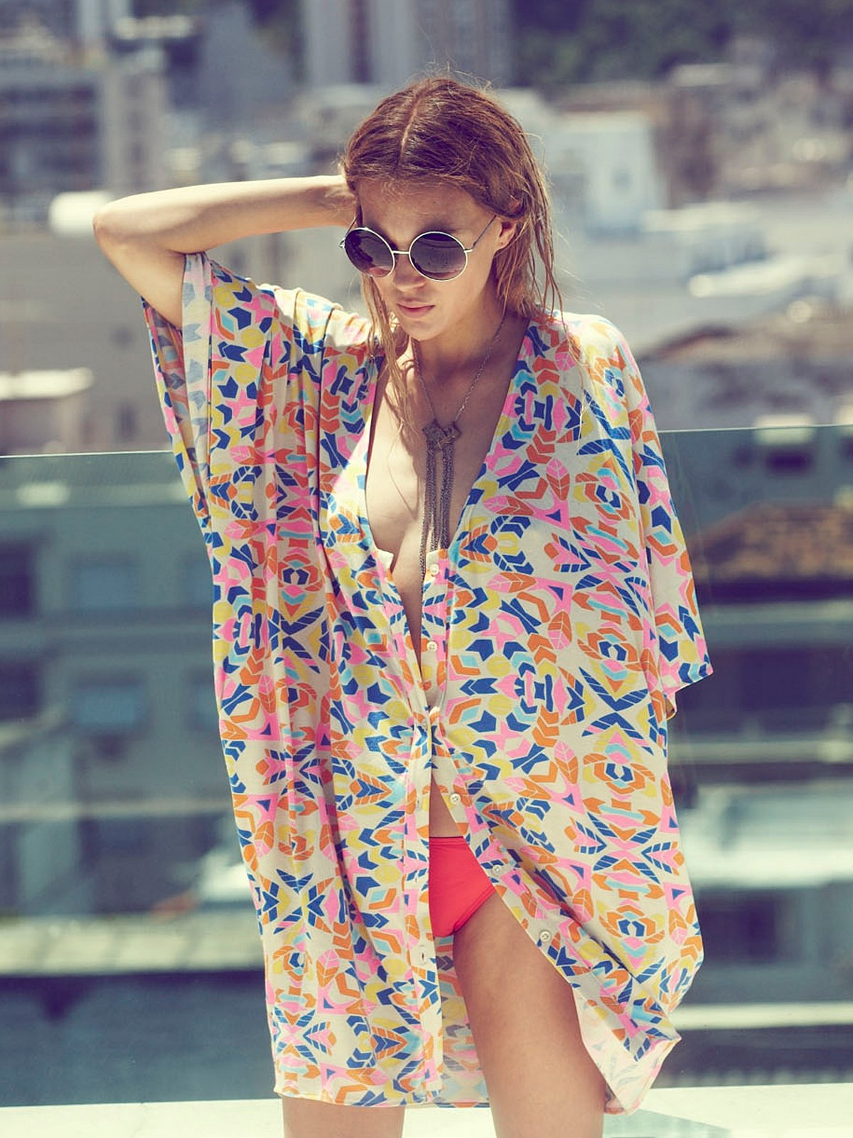 Aloha Buttondown Poncho Dress
