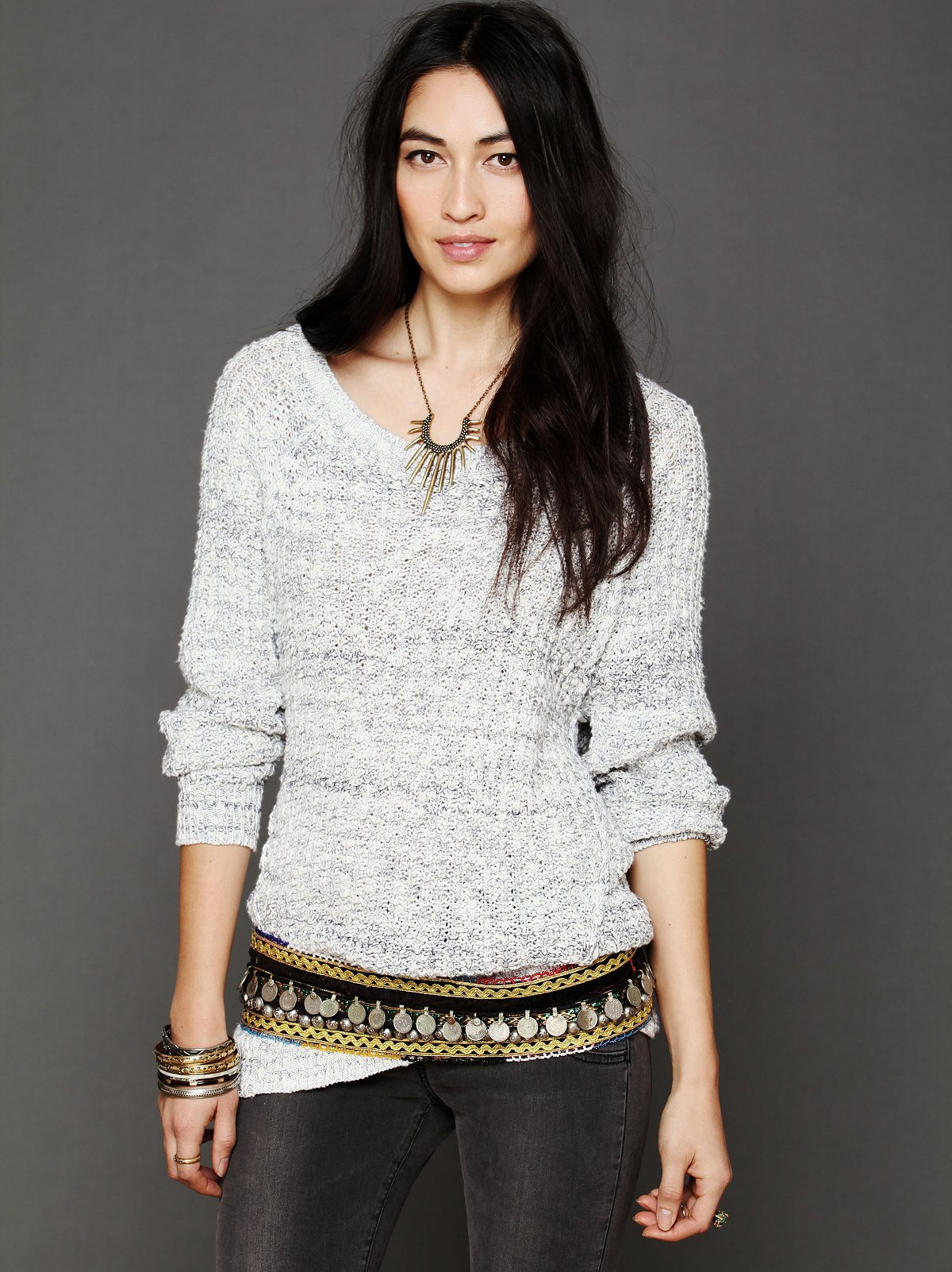 Open Neck Sweater Tunic