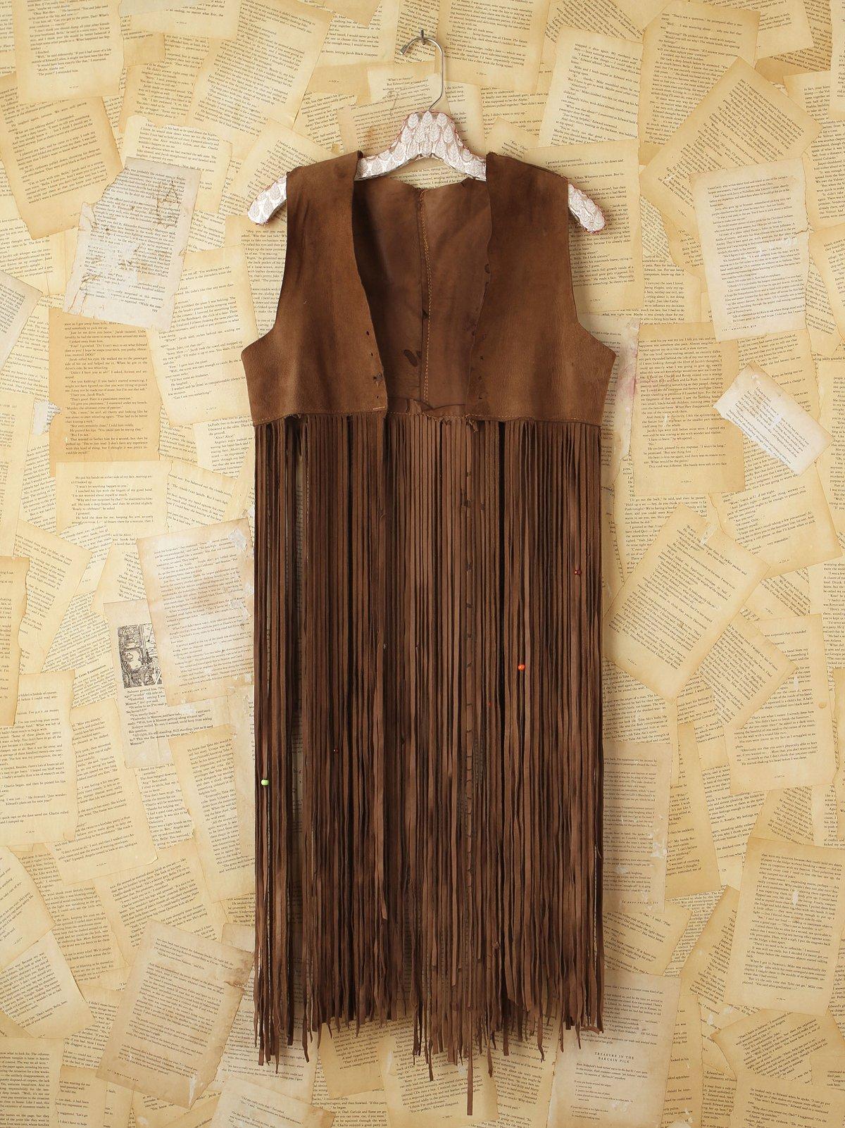 Vintage Brown Suede Fringe Vest