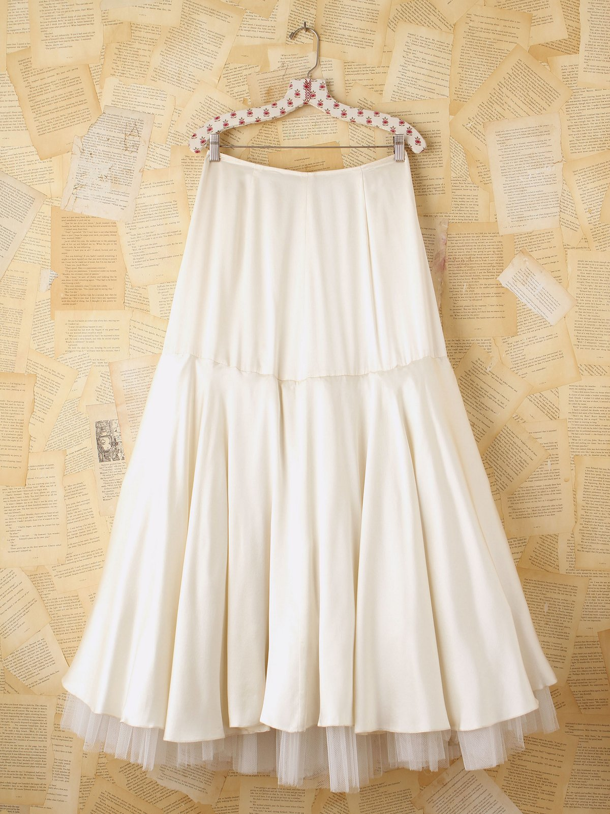 Vintage White Silk and Tulle Maxi Skirt