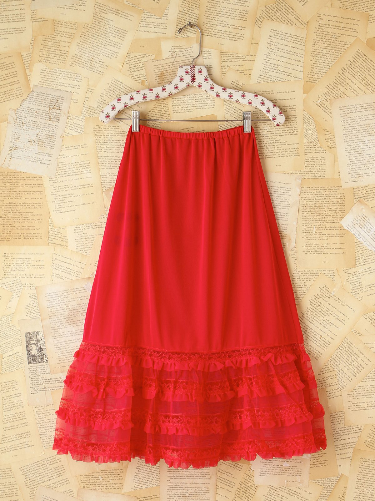 Vintage Red Lace Trimmed Skirt