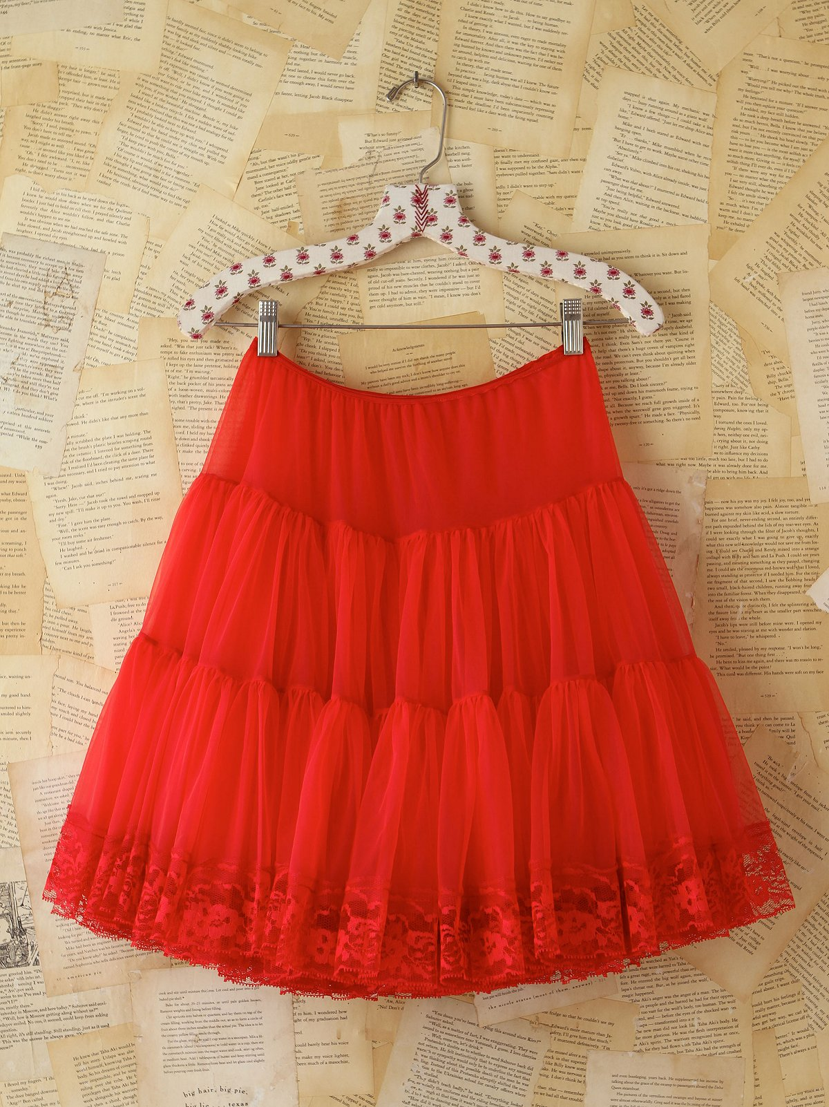 Vintage Red Tiered Skirt