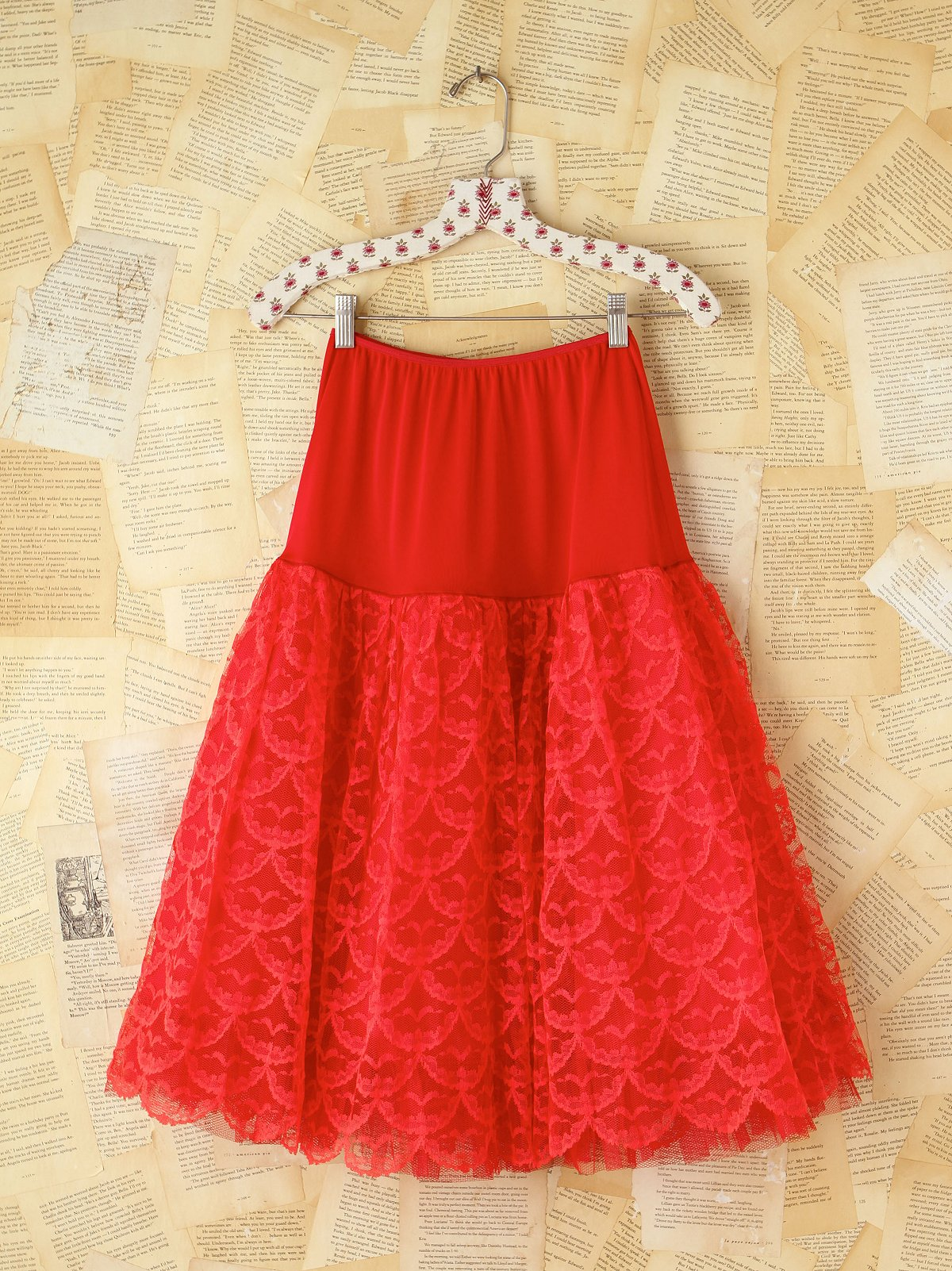 Vintage 1950s Red Lace Skirt