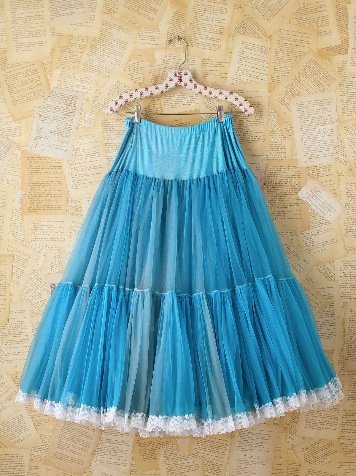 Vintage Blue Layered Mesh Skirt