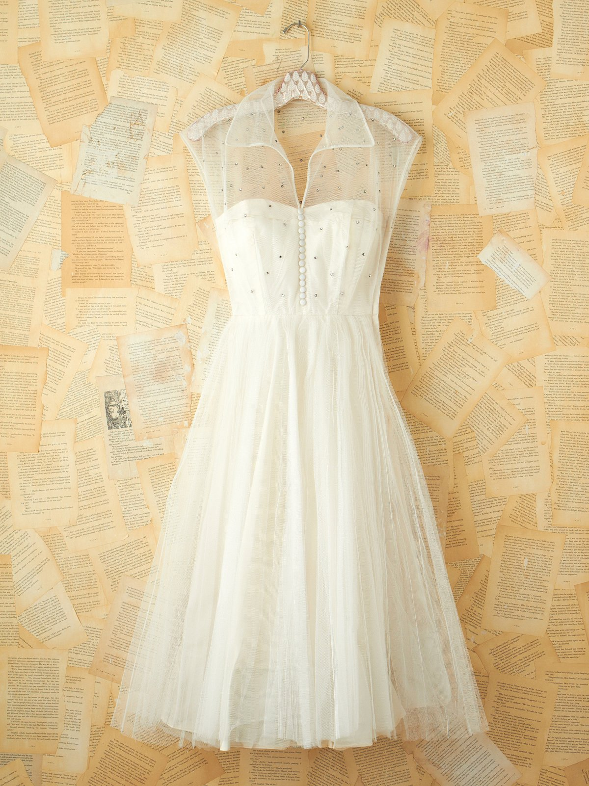 Vintage White Rhinestone and Tulle Dress