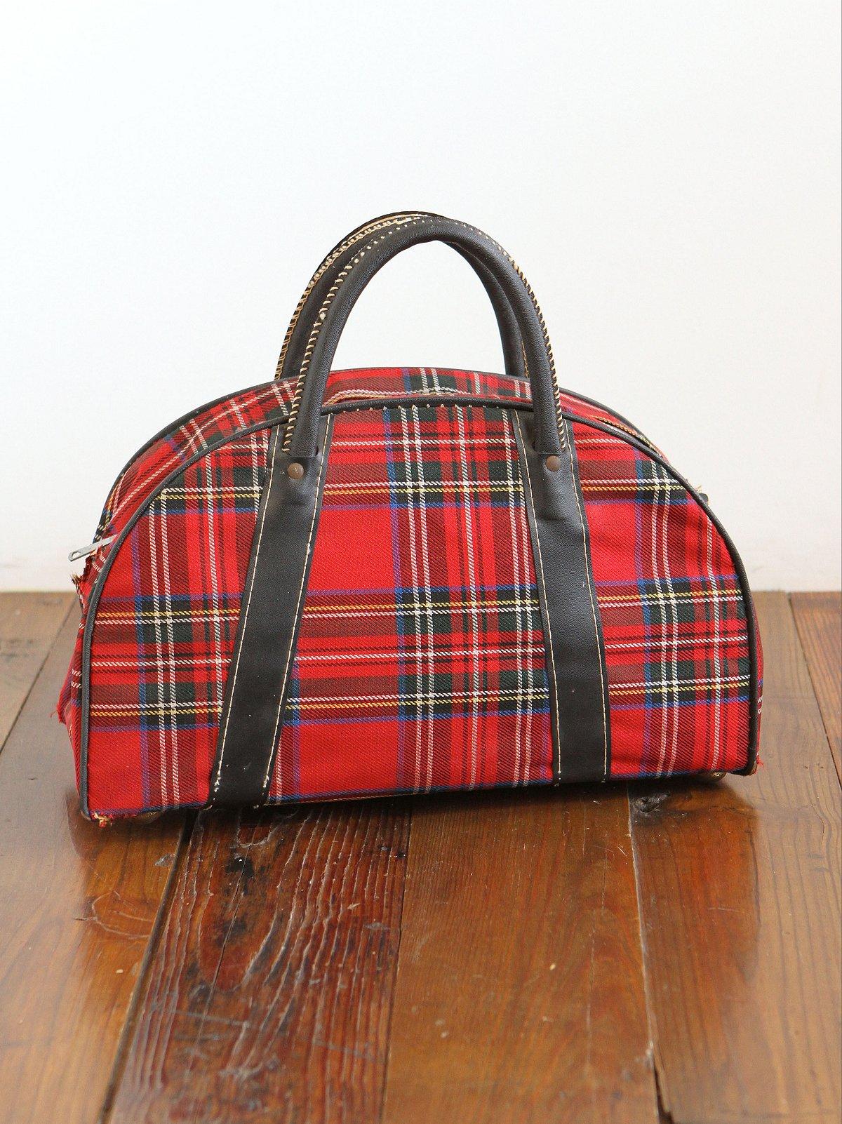 Vintage Red Plaid Mini Suitcase