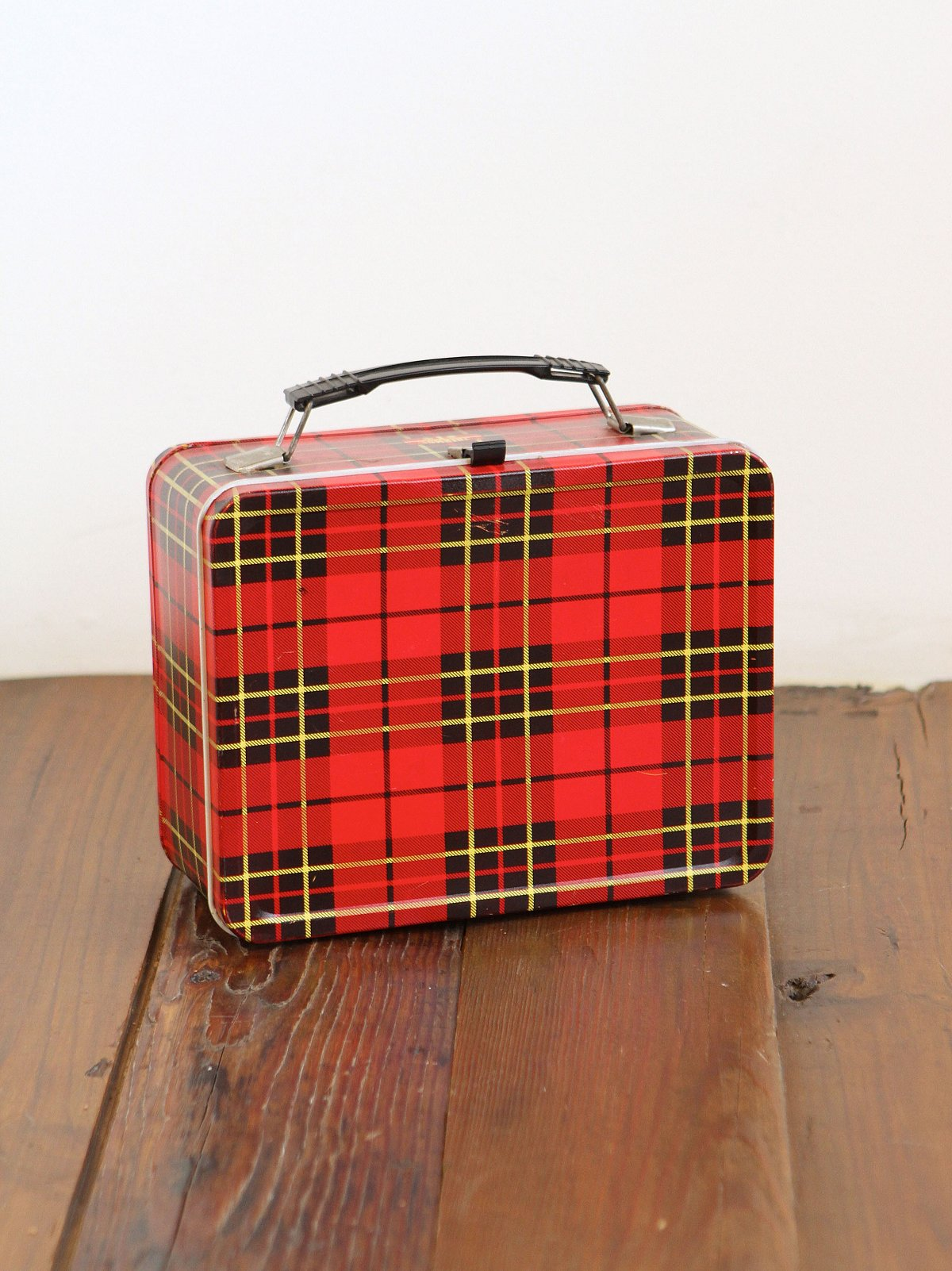Vintage Red Plaid Tin Lunchbox