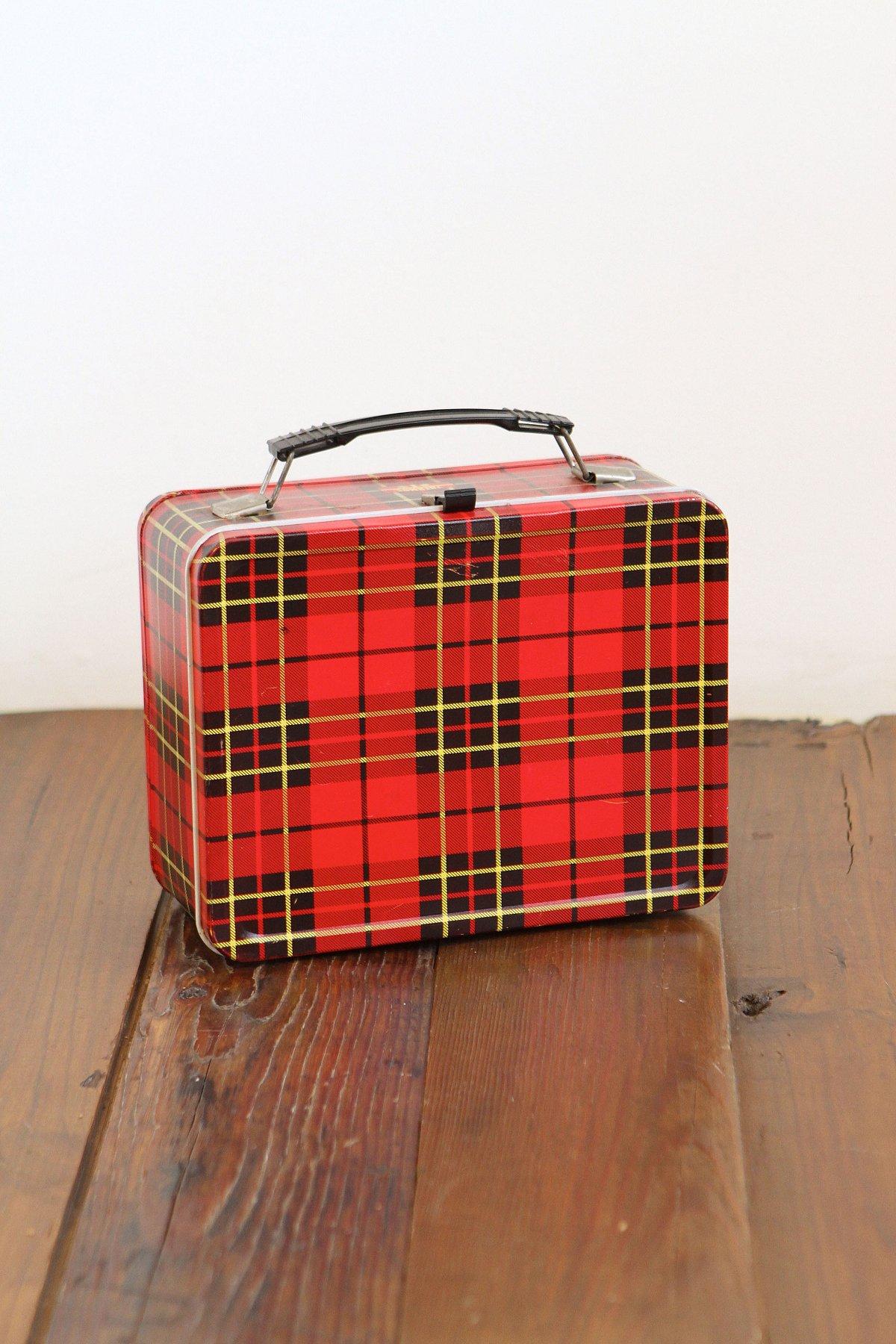 Vintage Red Plaid Tin Lunchbox