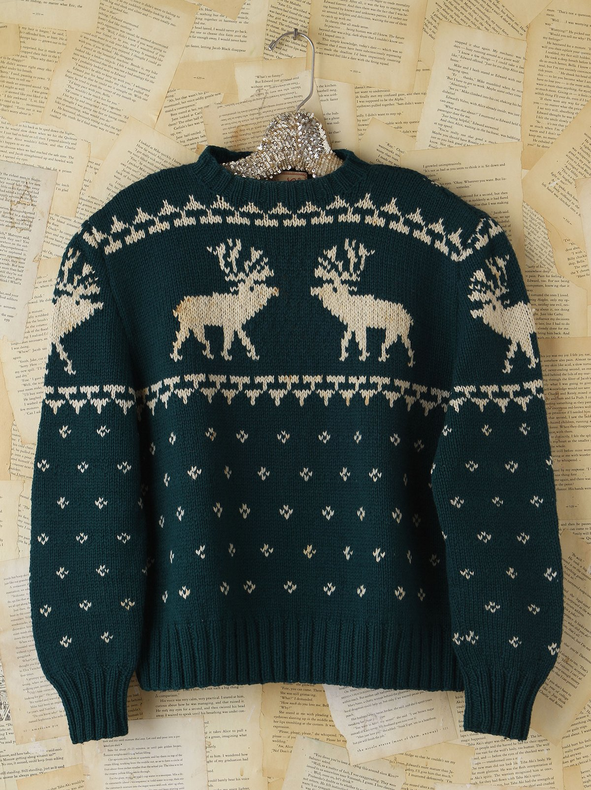 Vintage Green Reindeer Sweater