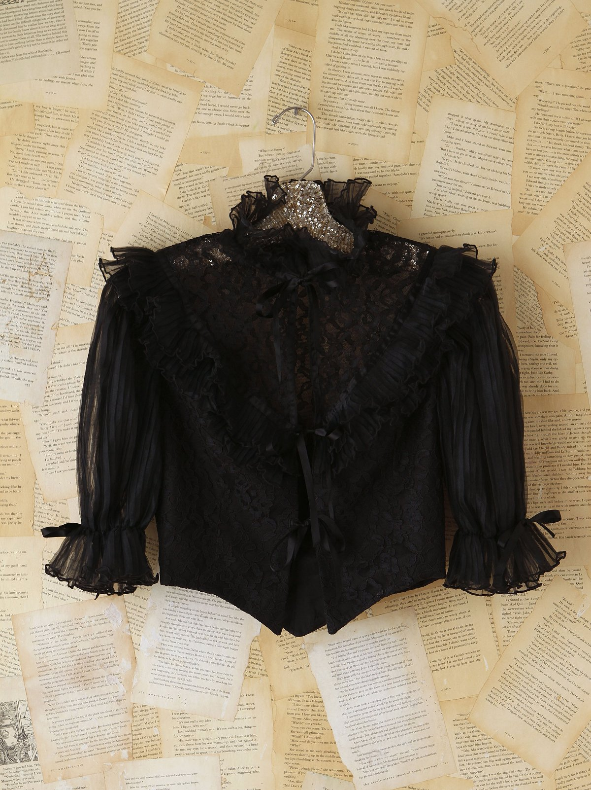 Vintage 1970s Black Lace Top