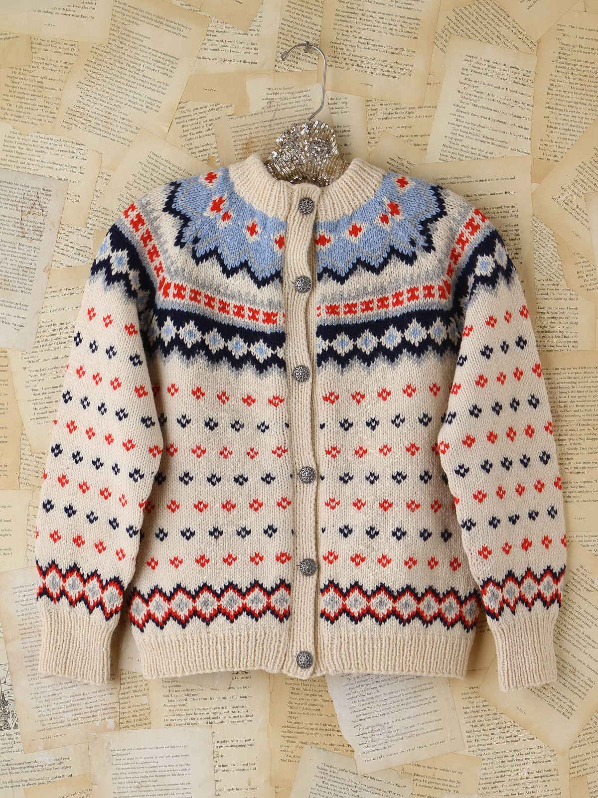 Vintage Knitted Holiday Cardigan