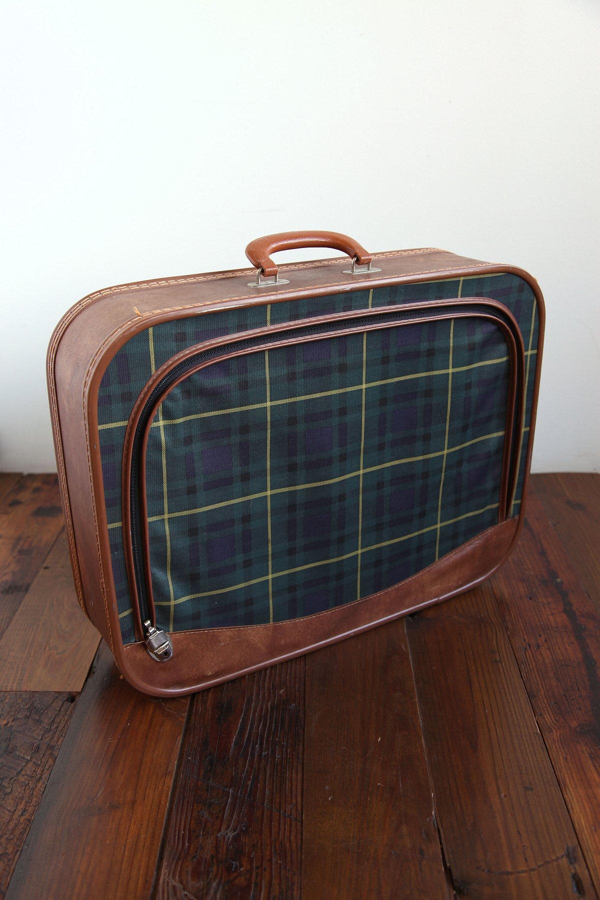 Vintage Blue Plaid Suitcase
