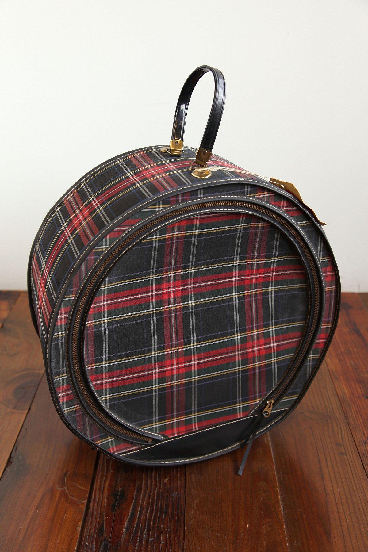Vintage Round Plaid Suitcase