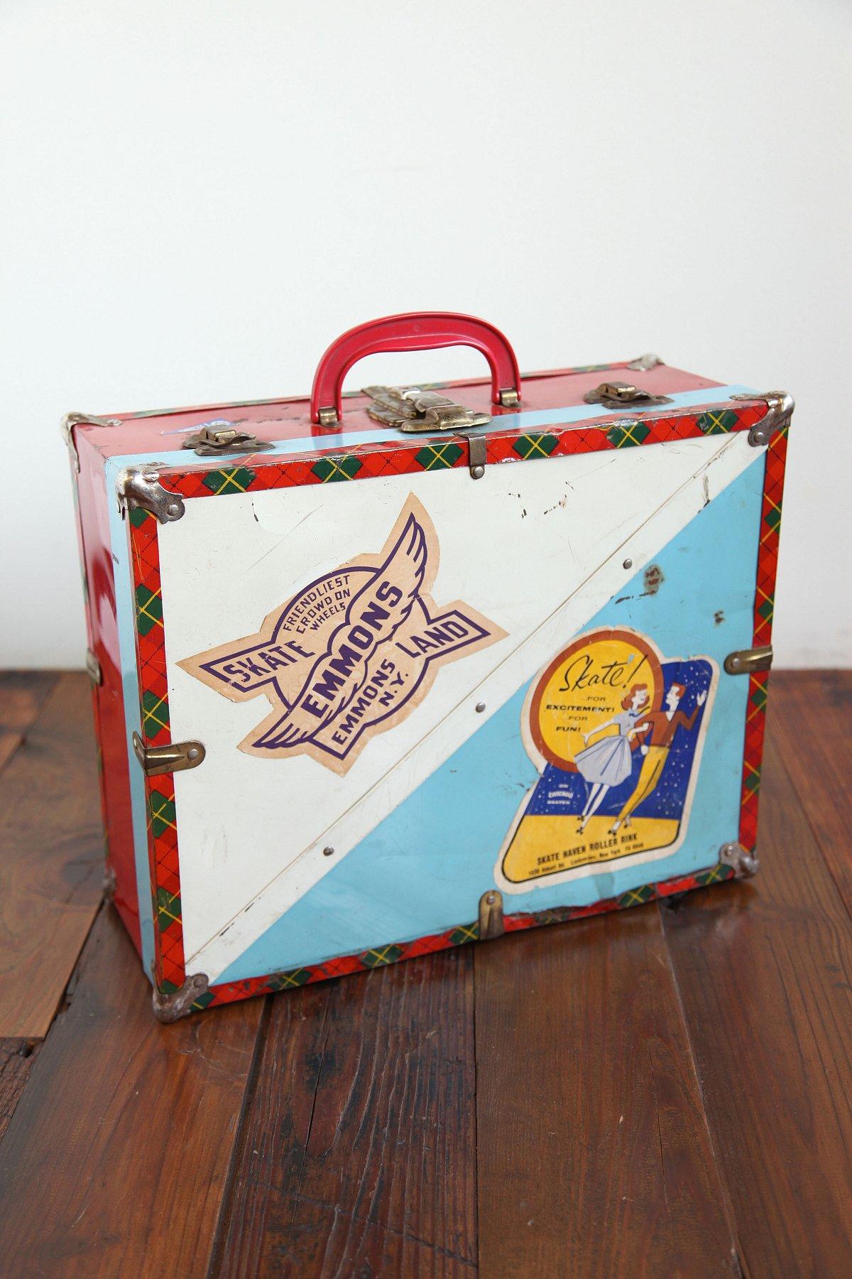 Vintage White and Blue Tin Case