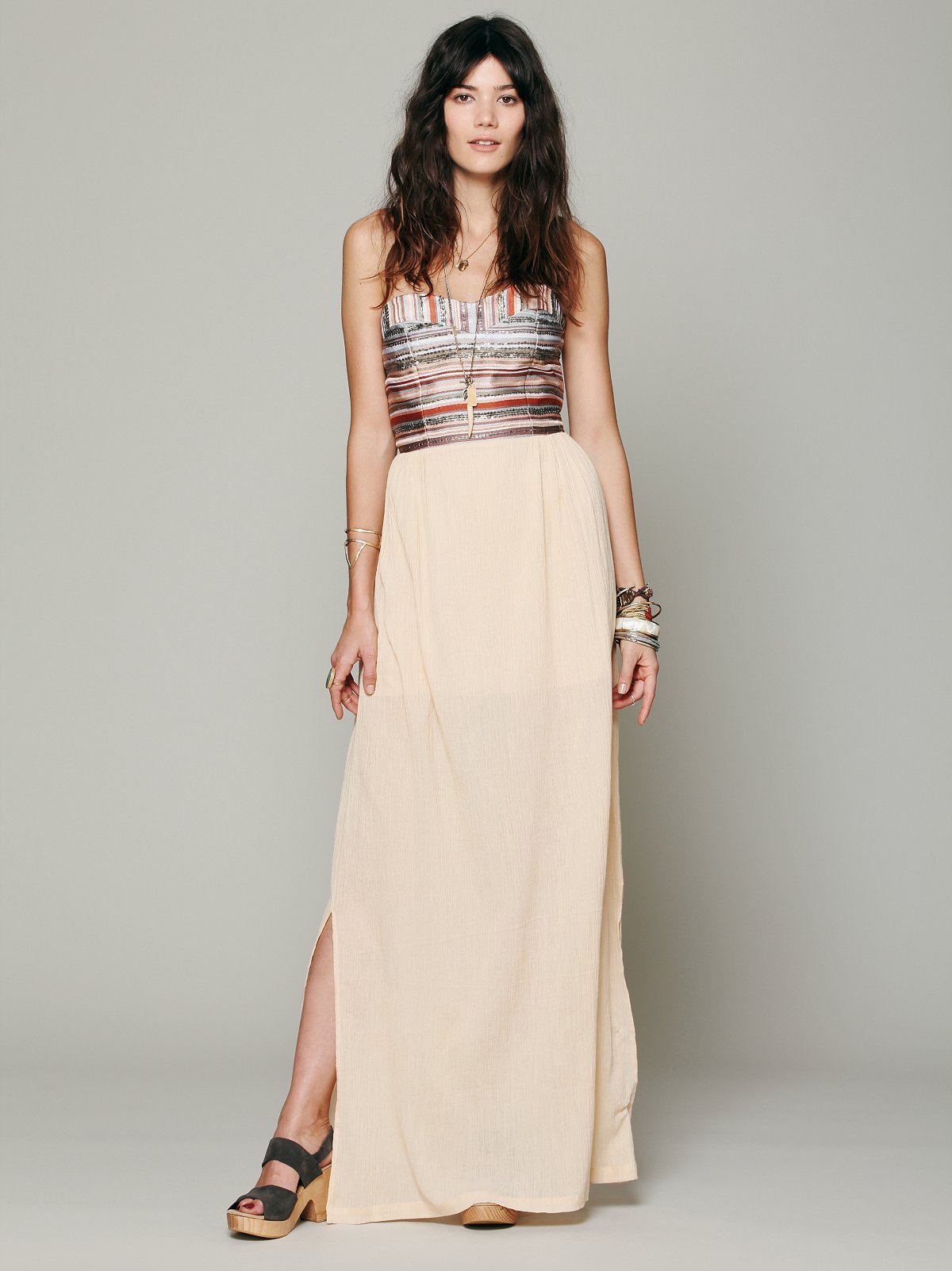 Embroidered Stripe Gauze Maxi