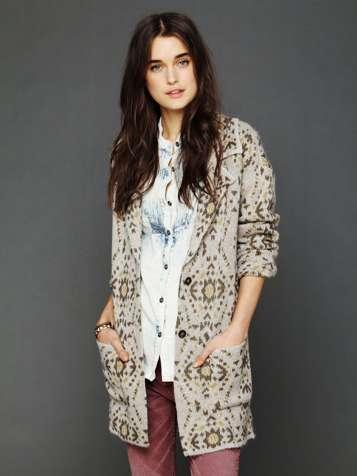 Patterned Sweater Blazer