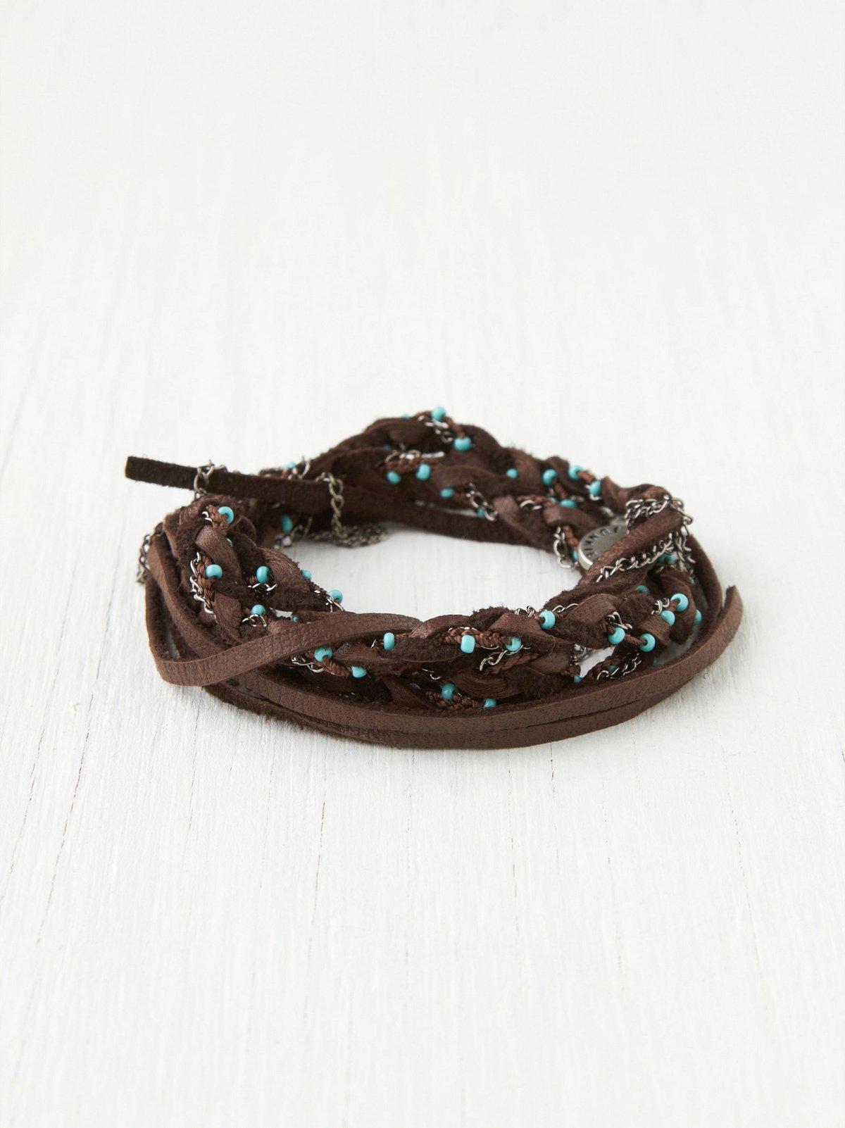 Leather Turquoise Wrap Headband