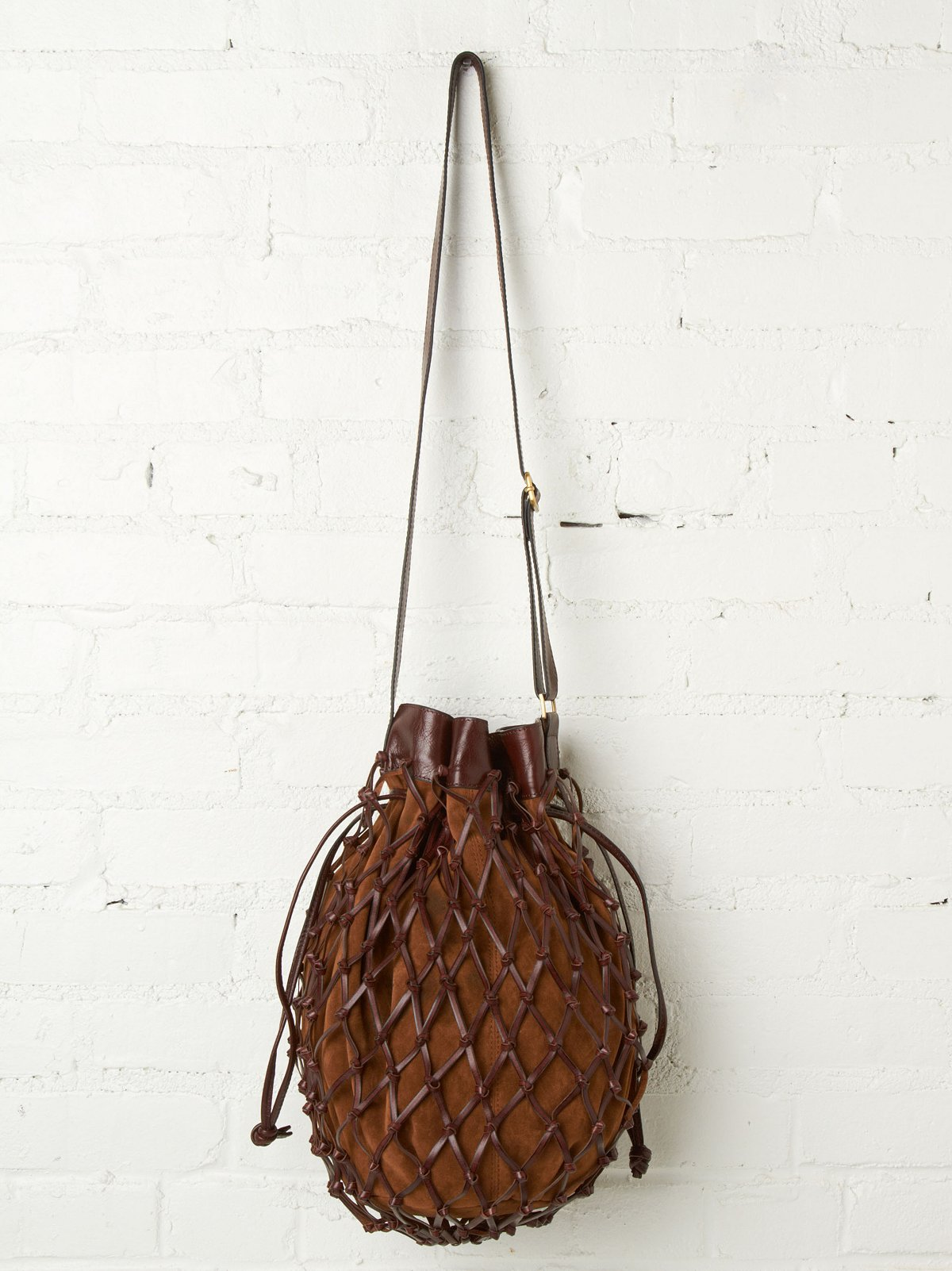 Netted Suede Crossbody