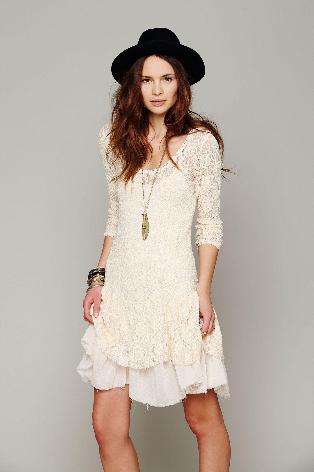 Long-Sleeve Lace Dropwaist Dress