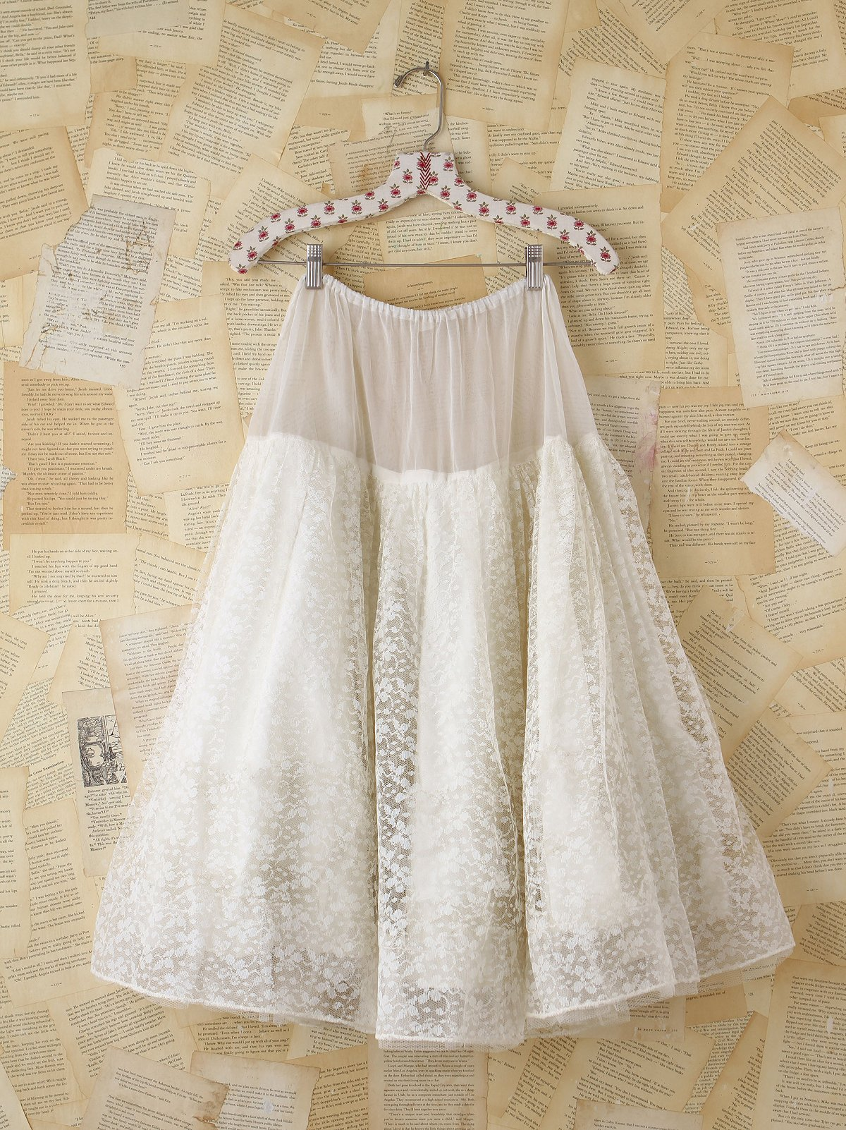 Vintage White Lace and Tulle Skirt