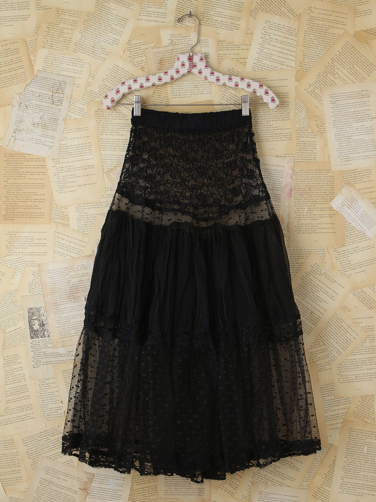 Vintage Black Tulle and Lace Skirt