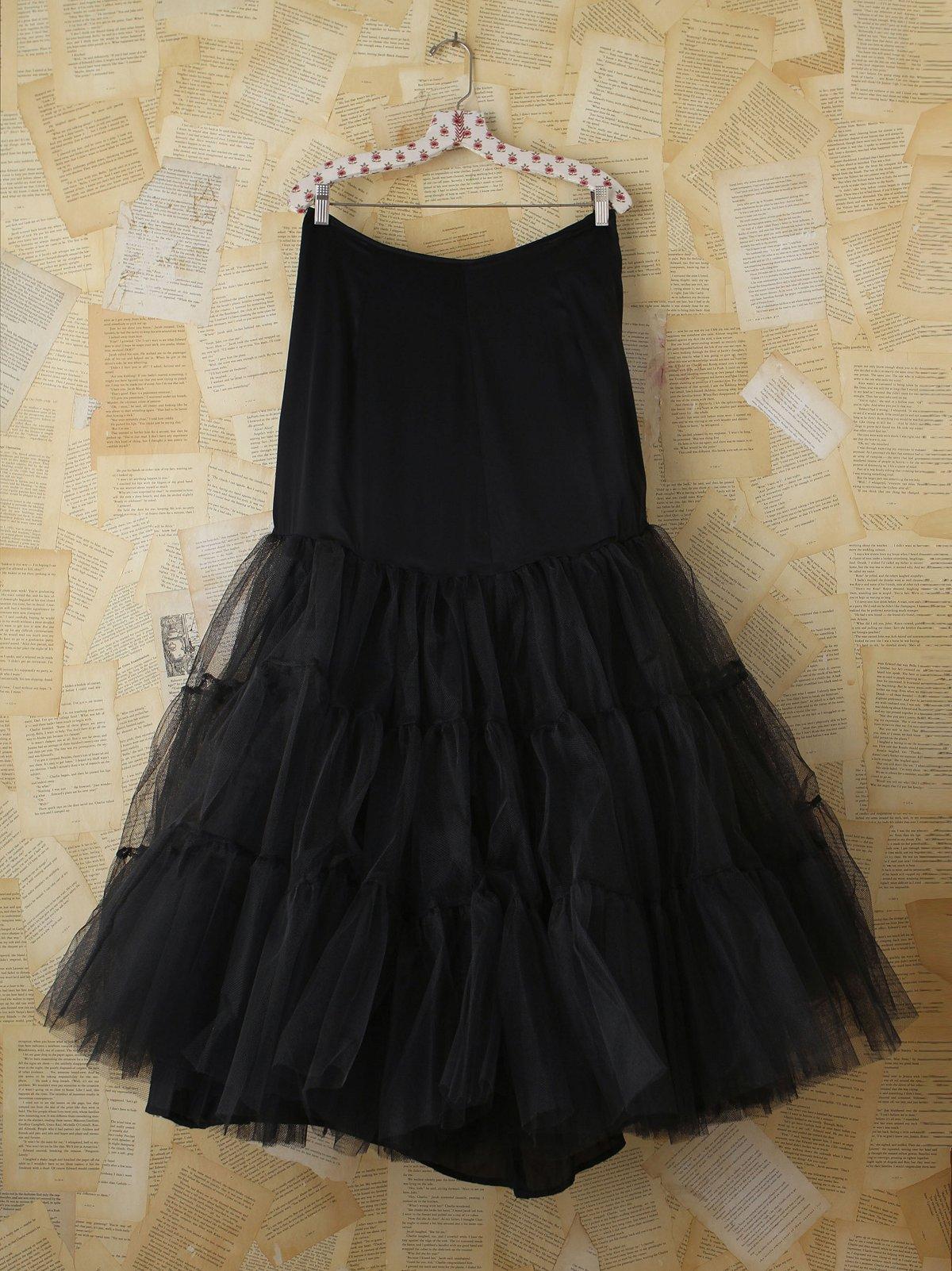 Vintage Black Tulle Long Skirt