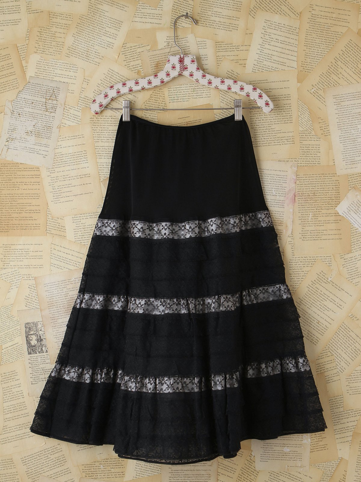 Vintage Black Lace and Tulle Skirt