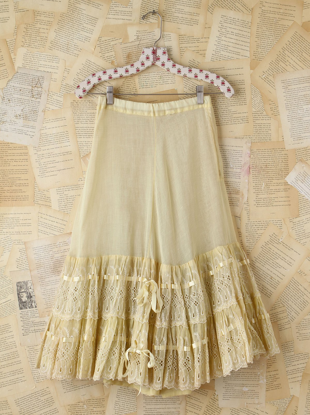 Vintage Yellow Eyelet Skirt
