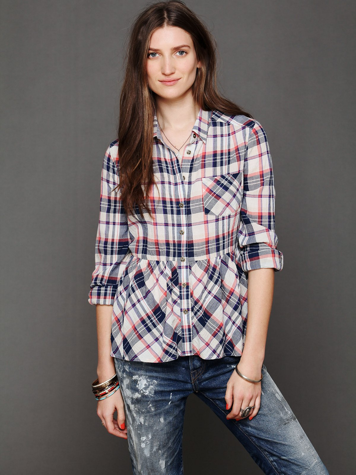 Plaid Peplum Pleated Top