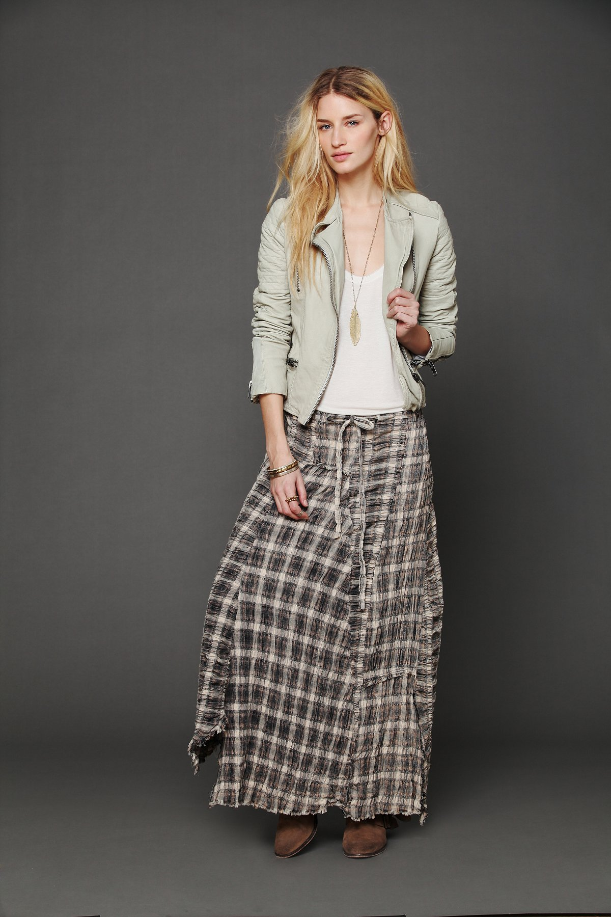 Janus Plaid Maxi Skirt at Free People Clothing Boutique