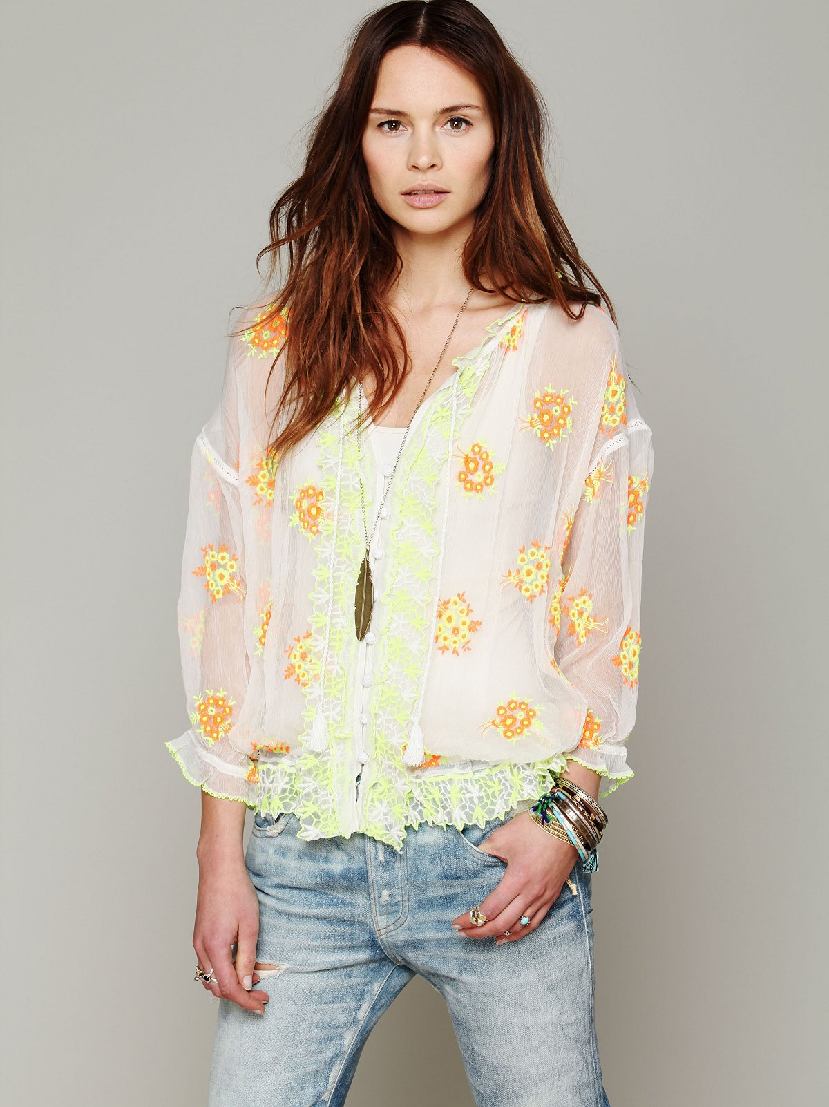 FP New Romantics Neon Embroidered Blouse