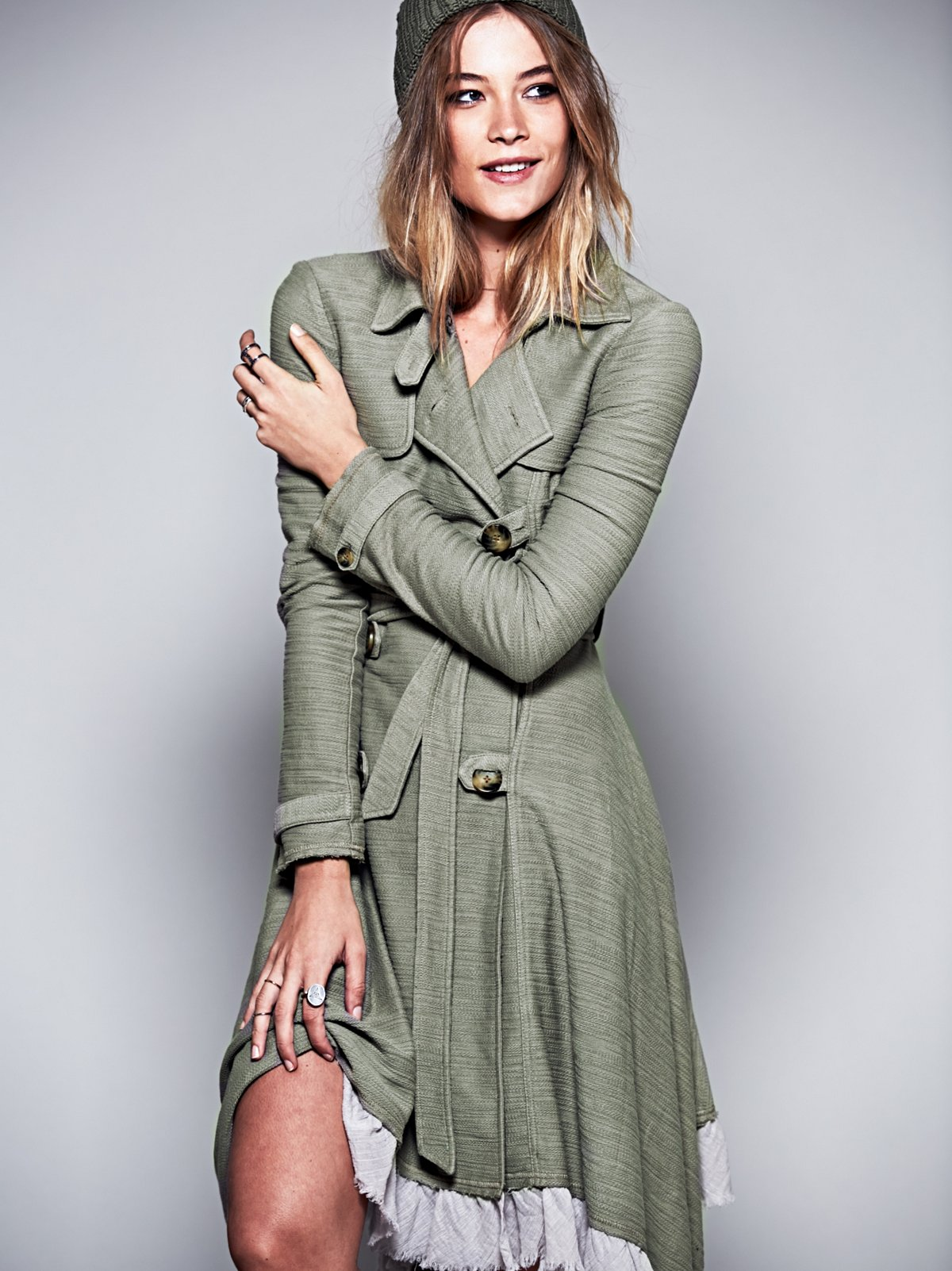 Ruffle Trim Trench Coat