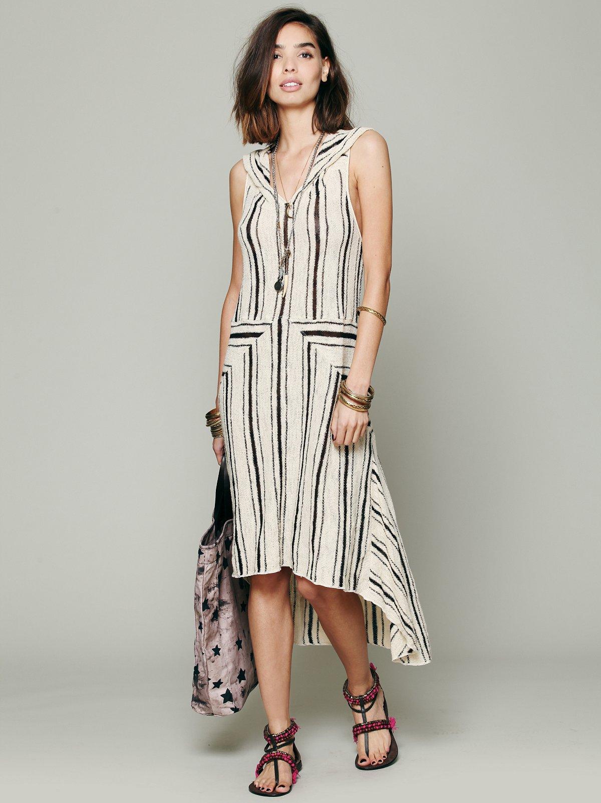 Striped Hooded Swit Dress