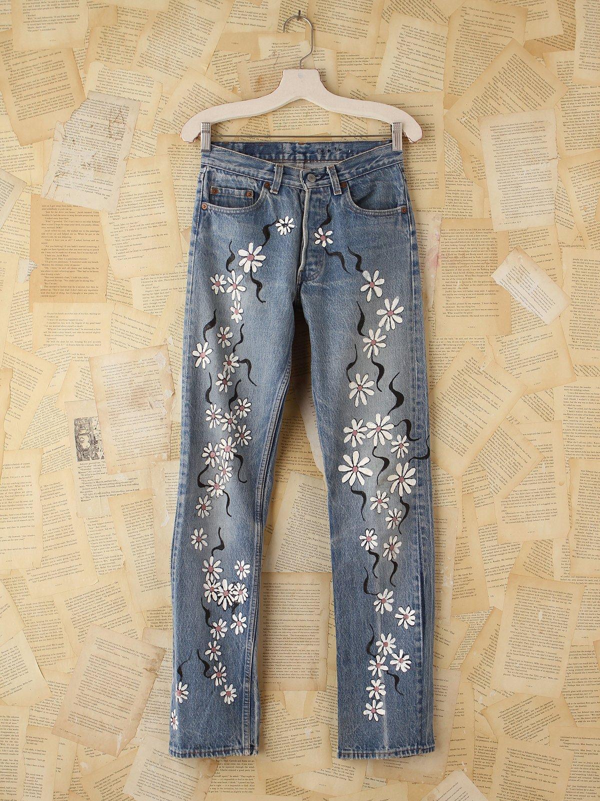Vintage Handpainted Levi's 501 Jeans