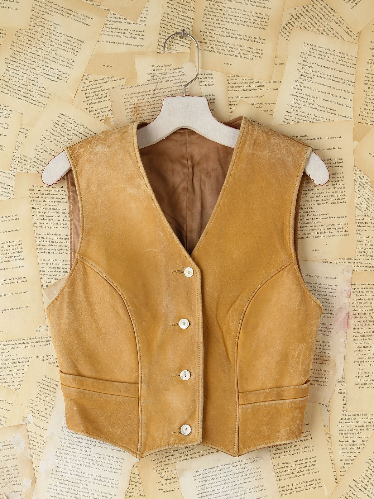Vintage Tan Distressed Leather Vest