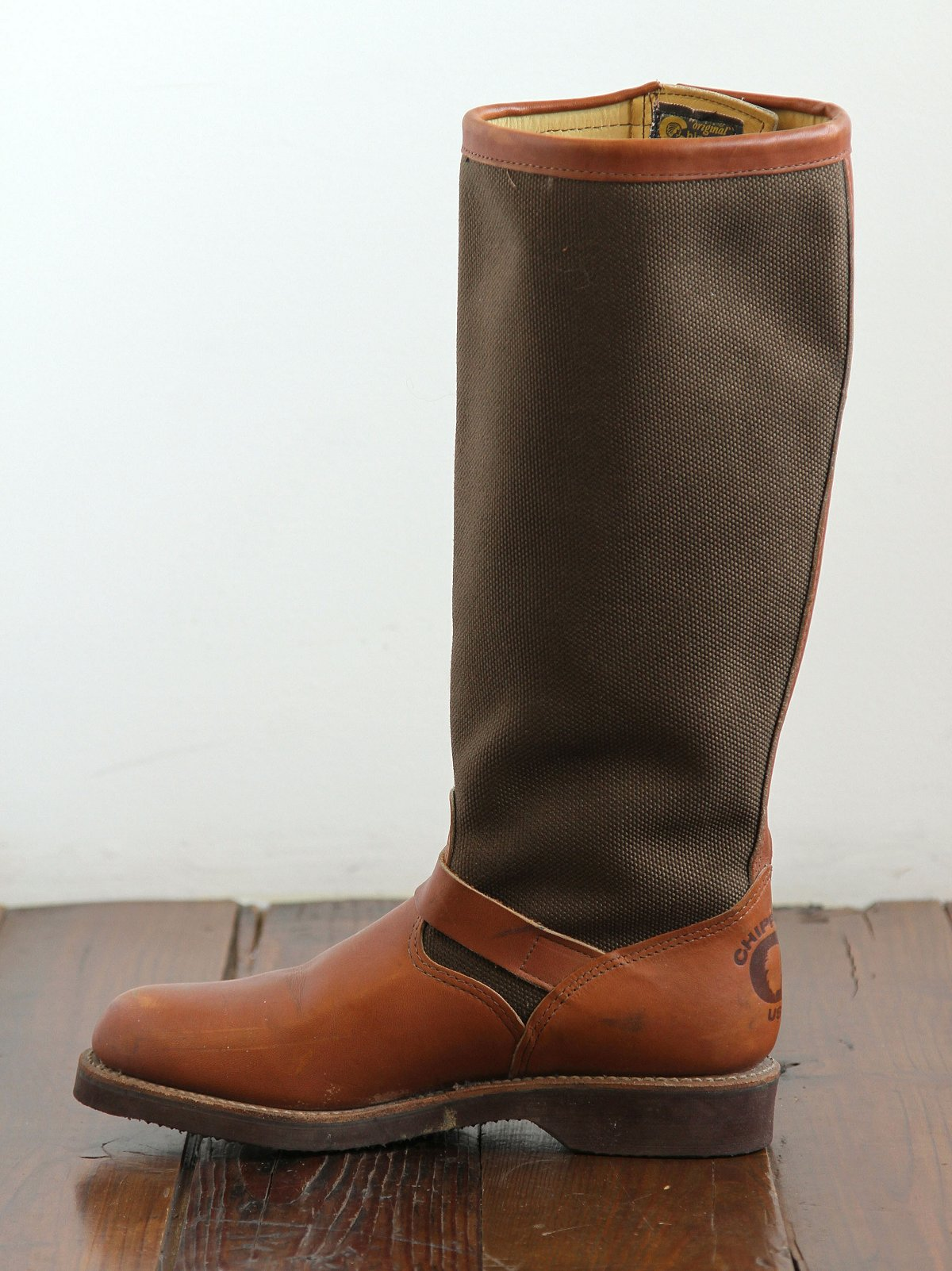 Vintage Canvas and Leather Tall Boots