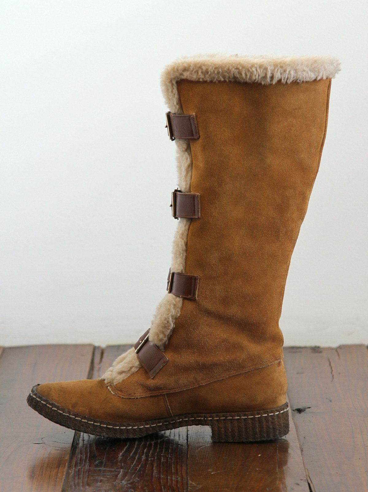 Vintage Shearling Buck Suede Boots