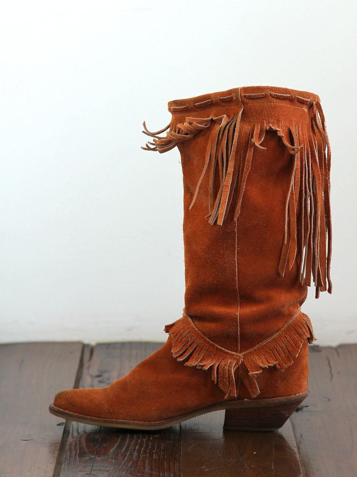 Vintage Suede Fringe Western Boot