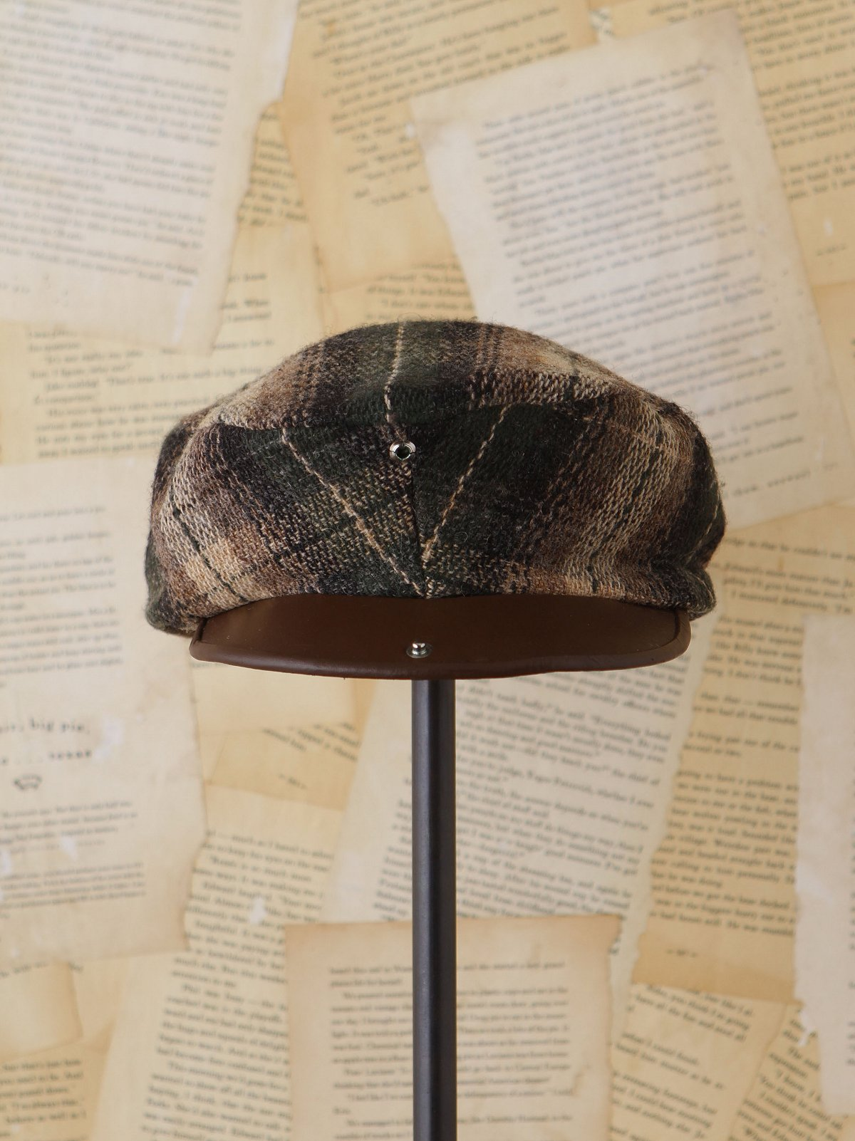 Vintage Plaid Wool Newsboy Hat